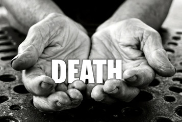 Death concept in the old female hands