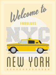 Retro New York Yellow Cab Poster Vector Illustration
