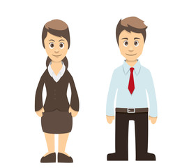 Business Man And Women Couple Standing