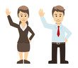 Business Man And Women Couple Waving