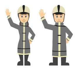 Firefighter Man And Women Couple Waving