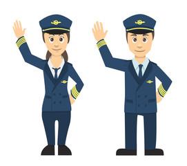 Pilot Man And Women Couple Waving