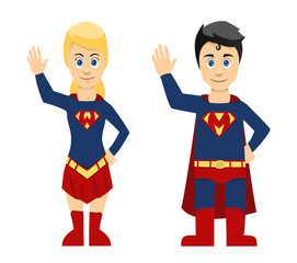 Super Man And Women Couple Waving