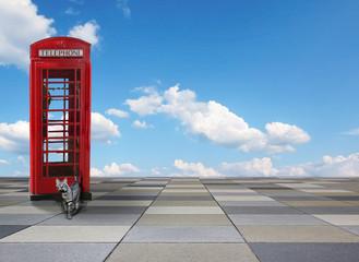 Background Plattenfläche und blauer Himmel, Telefonbox Nostalgie