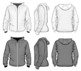 Men's hooded sweat-shirt with zipper