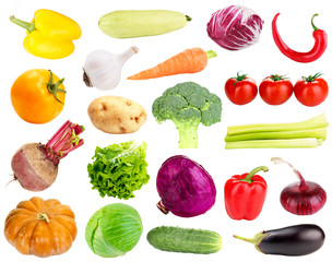 Collage of fresh vegetables isolated on white