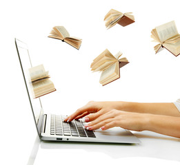 Information transfer. Books flying in laptop
