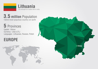 Lithuania world map with a pixel diamond texture.