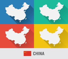 China world map in flat style with 4 colors.