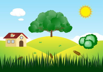Mountain view landscape vector background.