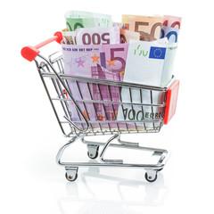 Einkaufswagen mit Euroscheinen