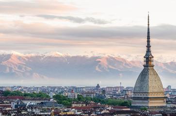 Turin (Torino), panorama at sunrise with Mole Antonelliana
