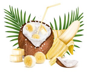 Coconut with milk splash and slices of bananas.