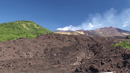 Southern flank of Mount Etna with lateral cones and lava scoriae