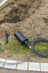 Drilling under street for fibre optic cable installation