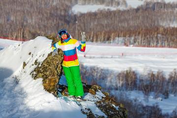 Snowboarder girl in ski center Metallurg-Magnitogorsk, Russia