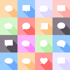 Speech bubbles flat icons with long shadow