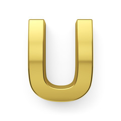 3d render of golden alphabet letter simbol - U