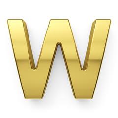 3d render of golden alphabet letter simbol - W