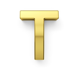 3d render of golden alphabet letter simbol - T