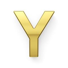 3d render of golden alphabet letter symbol - Y
