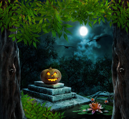 Pumpkin Halloween on old stone grave in the night sky