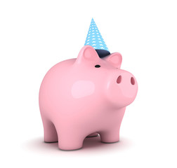 Piggy bank with party hat