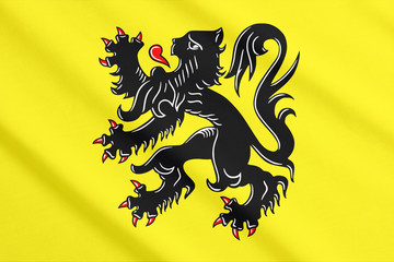 Flag of Flanders waving