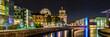 Leinwanddruck Bild - Reichstag und Reichstagufer in Berlin bei Nacht