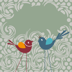 Communication. Two little birds communicating with each other.