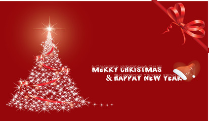 Carte Voeux Merry Christmas Rouge