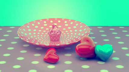 Vintage Retro Sweet Cupcake on plate and hearts.