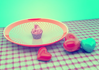 Vintage Retro Sweet Cupcake on plate with hearts.