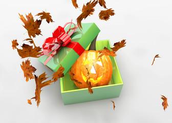 Halloween pumpkin in present box, Halloween concept
