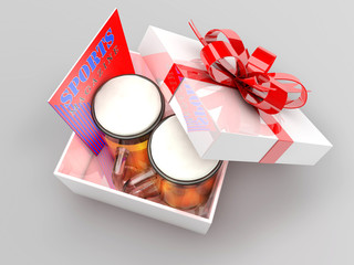 Gift box with beer mugs and sports magazine,bachelor party