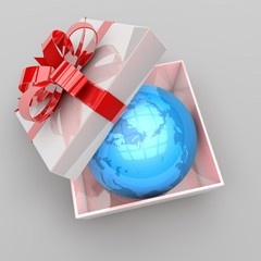 illustration of gift box with planet earth inside
