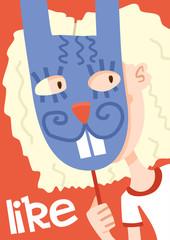 girl in rabbit mask poster