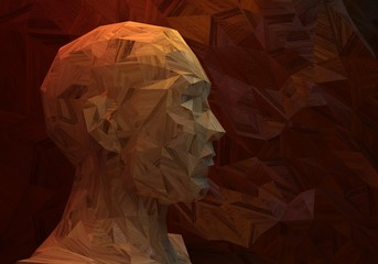 3D stylized man head, low poly, made of wood