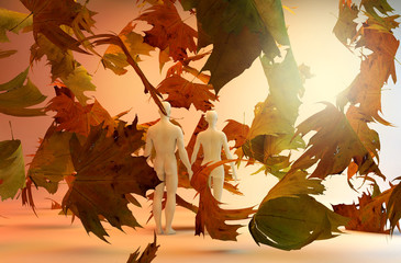 Couple in love and falling leaves