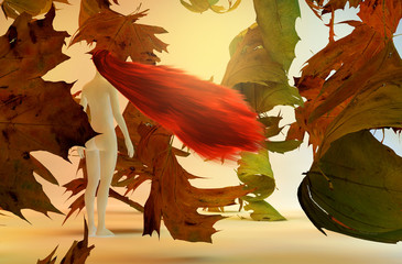 Surreal 3d illustration of woman and falling leaves