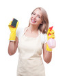 Beautiful woman doing housework in gloves with sponge isolated o