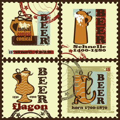 Postage stamps with beer mugs