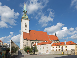 Bratislava -  St. Martins cathedral and memorial of holocaust.