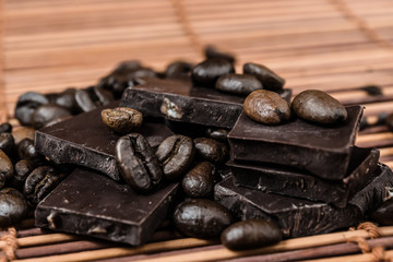 close up chocolate and coffee beans
