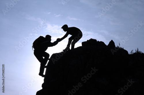 Fotobehang Alpinisme yardım&destek&başarı