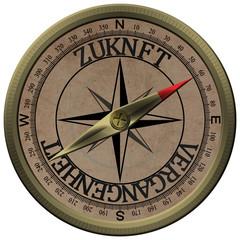 Bronce Kompass Zukunft Vergangenheit