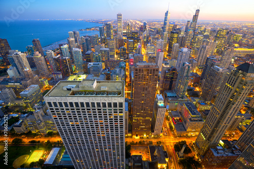 Aerial view of Chicago at dusk, IL, USA