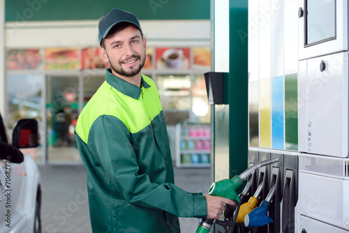 Leinwanddruck Bild Petrol filling station
