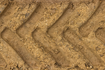 Tractor tyre track closeup