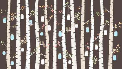 Vector Birch or Aspen Trees with Hanging Mason Jars and Love Bir